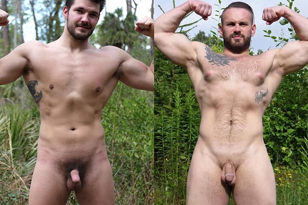 Rugged handsome straight dude James and big pec Russian beefcake Max (aka Nikita) pose their naked bodies before they shoot their creamy loads at Theguysite