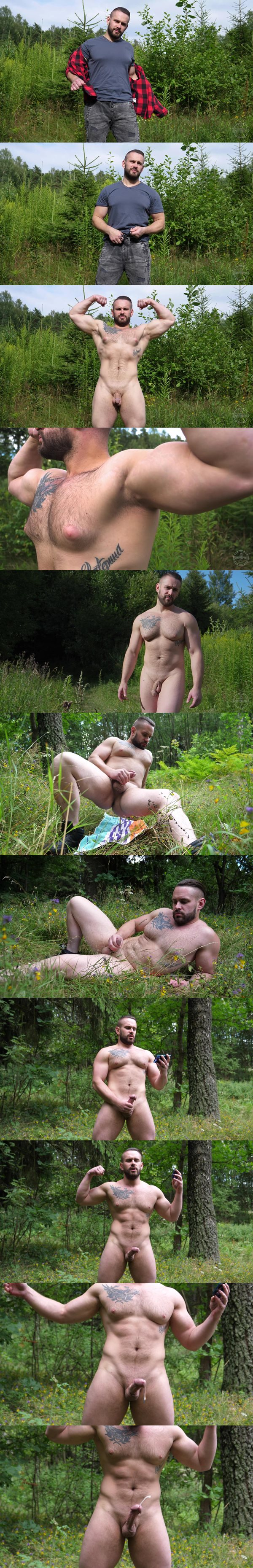 Big pec Russian straight beefcake Max (aka Nikita) poses his naked muscle body outdoors and strokes his hard cock before he has a hands-free cumshot at Theguysite