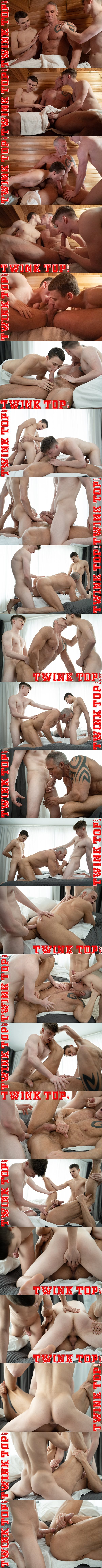 Twink Austin Young and Felix Maze tag team muscle daddy Dallas Steele in an older younger scene before they creampie Dallas in Extra Innings Tag Team at Twinktop 01