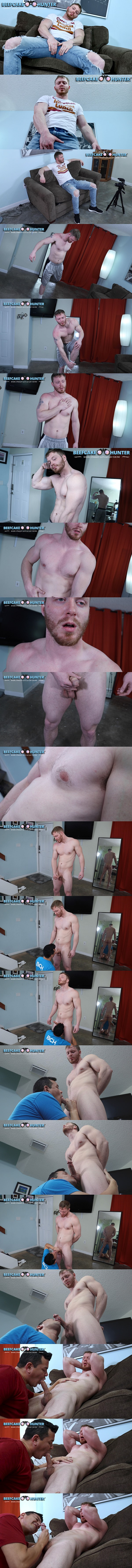Masculine straight beefcake, construction worker Douglas gets serviced by a guy for the first time before he gets jerked off in Big Arms Beefcake Douglas Got Sucked at Beefcakehunter 01