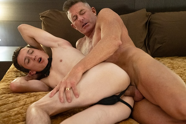 Hot daddy Matthew Figata barebacks twink Jack Andram in an older younger scene before he breeds Jack in Chapter 2 The Prize at Boyforsale