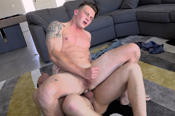 Muscle jock Adam Von and Rico Vega take turns pounding each other's bubble asses in different positions before Rico fucks a big load out of Adam at Gayhoopla