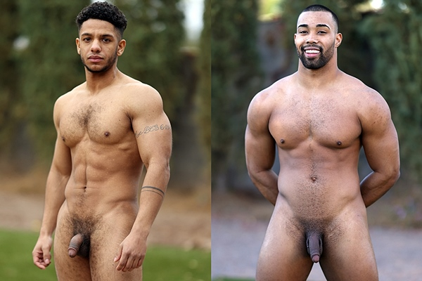 Ripped black muscle jock Arturo Torres and masculine construction worker Jaxson Briggs pose their naked muscular bodies and blow their creamy loads at Gayhoopla