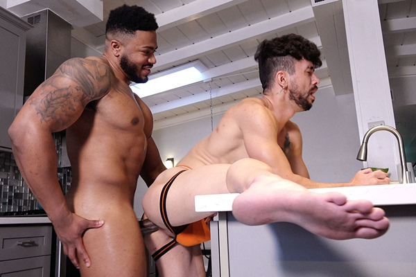 Muscular beefcake Jay barebacks inked newcomer David Zayn in doggy and missionary style before they blow their creamy loads in Ass For Breakfast at Guysinsweatpants
