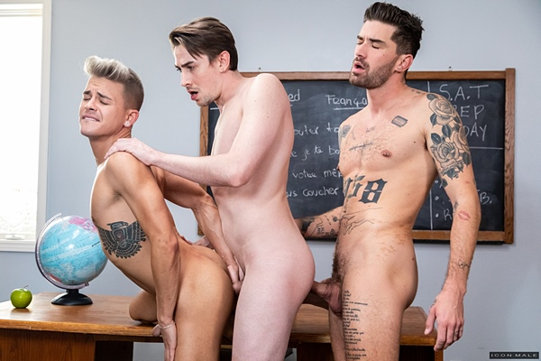 Handsome inked stud Chris Damned barebacks Andy Taylor and Jack Hunter in a threesome before Jack fucks the cum out of Andy and creampies him in Menage A Trois at Iconmale