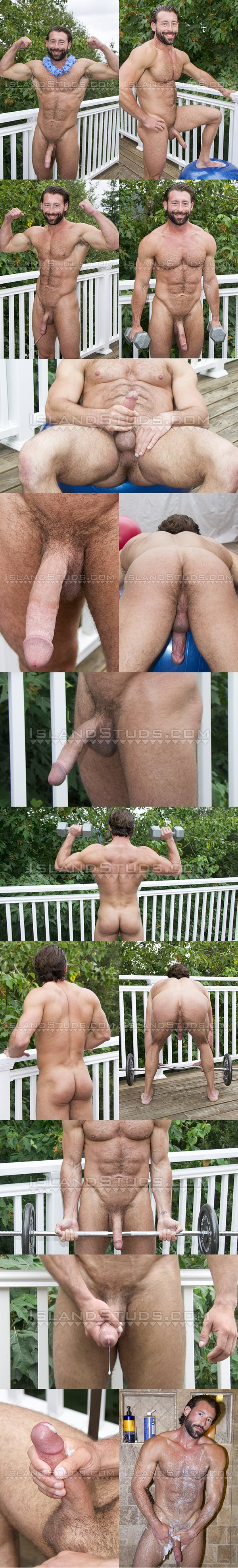 Sexy hairy businessman, married muscle hunk Benjamin shows off big long cock and naked muscle body before he stroke the jizz out of his hard cock at Islandstuds