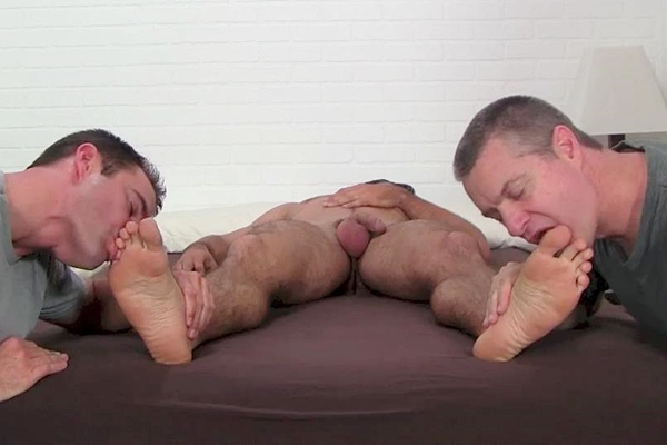 Handsome straight dude Clark (aka Tom Maxwell) gets his size 11 bare feet worshiped while he's sleeping before Cameron Kincade fucks Clark's feet and cums on them at Myfriendsfeet