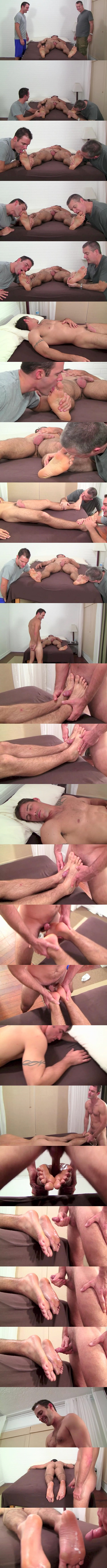 Handsome straight dude Clark (aka Tom Maxwell) gets his size 11 bare feet worshiped while he's sleeping before Cameron Kincade fucks Clark's feet and cums on them at Myfriendsfeet 01