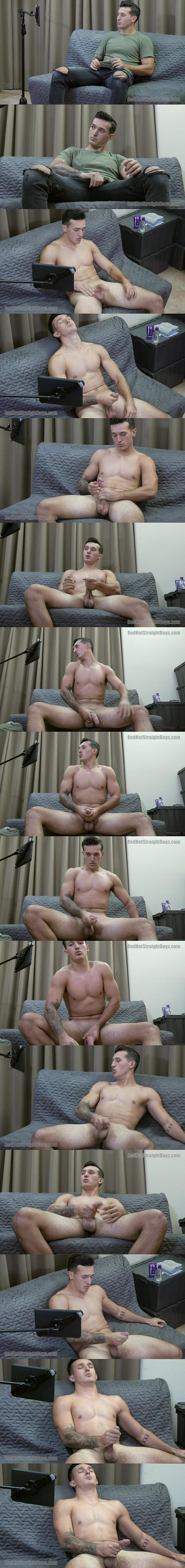 Masculine straight young man Colby Sawyer strokes his big cock in front of camera before he shoots his creamy load at Redhotstraightboys