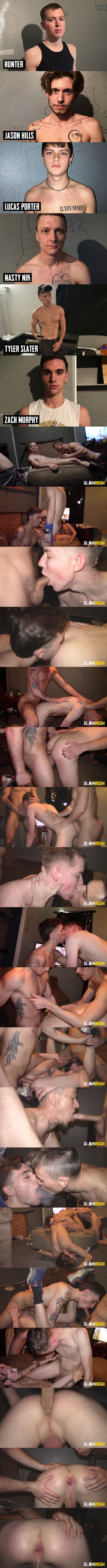 Jason Hills, Lucas Porter, Nasty Nik, Tyler Slater and Zach Murphy gangbang and creampie newbie Hunter in Hunter's bottoming debut in Dead End Dump at Slamrush 01