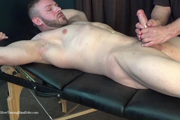 Handsome, macho straight beefcake Anthony Flex gets tied up naked and slowly edged by master Rich before Anthony gets jerked off in Slow Hand Job for Anthony at Slowteasinghandjobs