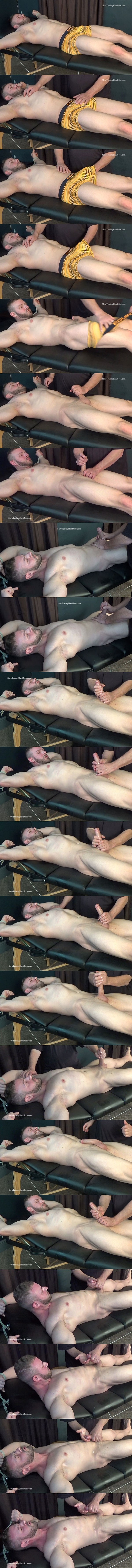 Handsome, macho straight beefcake Anthony Flex gets tied up naked and slowly edged by master Rich before Anthony gets jerked off in Slow Hand Job for Anthony at Slowteasinghandjobs 01