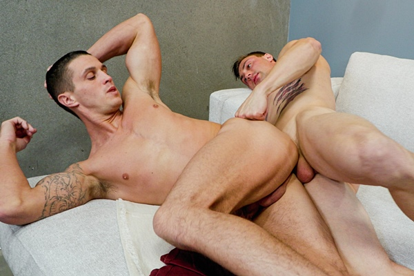 Ripped straight hunk Damien White (aka Damian White, Brad and Dillinger) barebacks newcomer Nick Clay in Nick's bottoming debut in Nick's First Fuck at Stagcollective