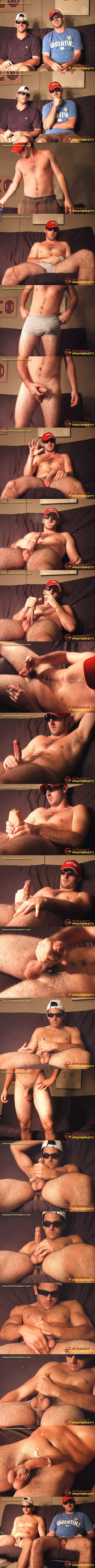 Hot straight dudes, real brothers Jayme and Jayson strip down and jerk off for the first time on camera in Two Real Brothers Compare Cocks at Straightfraternity 01