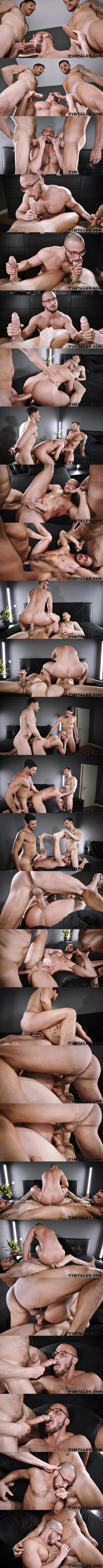 Big-dicked Brazilian muscle daddies Gaucho and Mario Galeno tag team and double fuck power bottom Saverio before they give Saverio facials in Saverio's first DP at Timtales 01