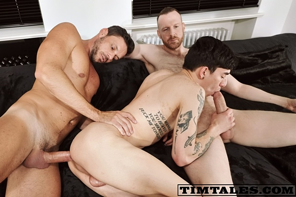 Hung power top Tim Kruger and Gaucho tag team and double penetrate inked twink Roman Capellini before they give Roman a double creampie in Roman's DP Session at Timtales