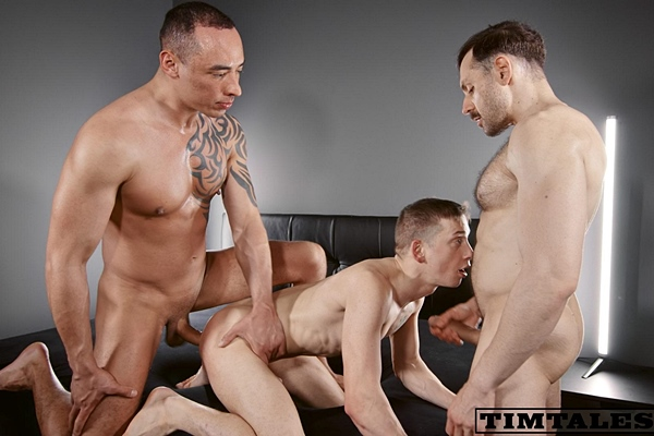 Hung tops Mario Galeno and Tian Tao tag team and double fuck power bottom Michl Amundson before they give Michl two facials in Michl's First DP at Timtales