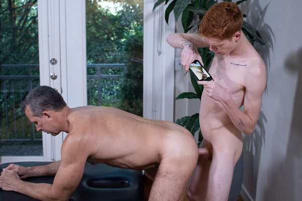 Redhead hung twink Connor Taylor massages and barebacks daddy Kyle Bryce before he breeds Kyle in Kyle's bottoming debut in Encounter 1 at Twinkloads