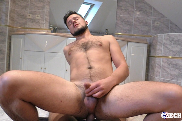 The camera guy Denny Cock barebacks hot fuzzy jock Tonda Zbranek (aka John D) in a POV scene until Tonda jerks Denny off in Czech Hunter 568 at Bigstr