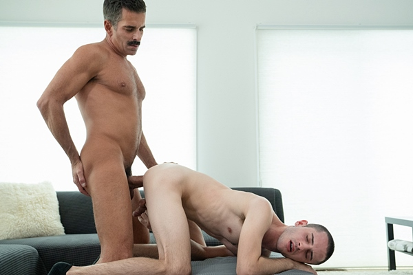 Bearded daddy Mitch Cox (aka Austin or Bishop Eldridge) barebacks cute twink Oliver in this older younger scene until he creampies Oliver in Family Tradition Texting Mishap at Gaycest