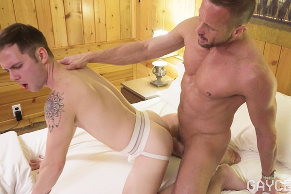 Ripped, manly daddy Myles Landon barebacks and creampies his stepson Danny Wilcoxx in this older younger encounter in Breeding My Boy's Little Hole at Gaycest