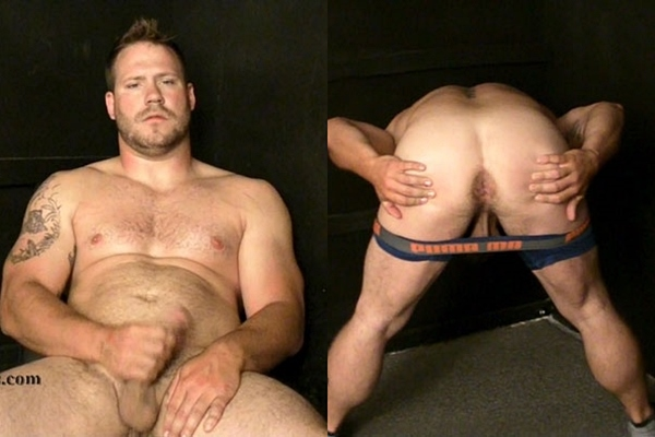 Former football player, masculine straight beefcake Caden (aka Caiden) shows his butt hole before he jerks off with fleshlight in Former Semi-Pro Running Back at Hardupstraightguys