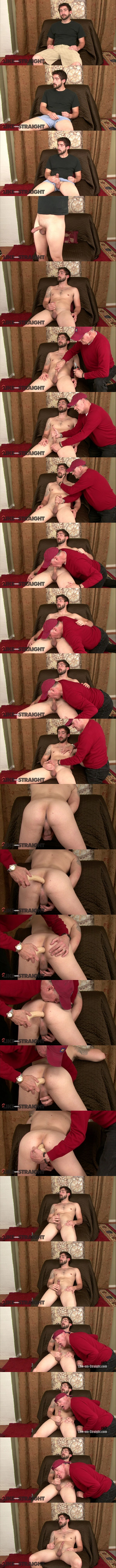 Bearded straight dude, manly blue collar worker Burton gets his tight virgin ass dildo-fucked by Brendon Marley before he nuts in Brendon's mouth in Cream Dreams at Like-em-straight 01
