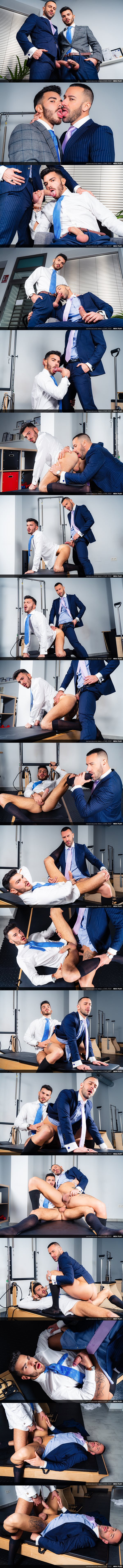 Handsome Spanish stud Gustavo Cruz and sexy bearded newcomer Pol Prince flip fuck raw before Pol fucks the cum out of Gustavo in Level Test at Menatplay 01