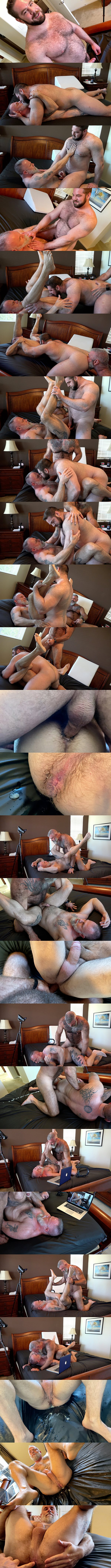 Hot hairy muscle bear Teddy Hunter and Will Angell bareback inked daddy Liam Angell before they creampie and fuck the cum out of Liam in Roid Load at Musclebearporn 01