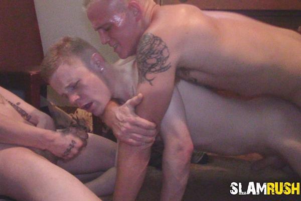 Street slammers Jake Hart, Shawn Skyler and Tony Hawg gangbang and bareback slutty bottom bitch Justin Zayne before they creampie Justin in Brokeback Bottom at Slamrush