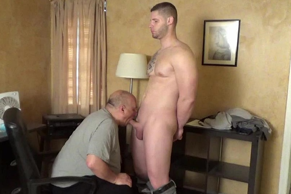 Handsome, muscular straight hunk Brad gets slowly fondled, sucked and edged until he gets jerked off by master Rich in Office Hand Job at Slowteasinghandjobs