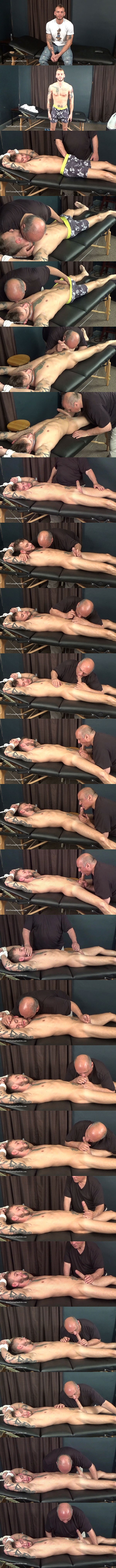 Masculine bisexual inked stud Justin Case gets slowly sucked and edged by master Rich until Justin blows his load in Rich's mouth at Slowteasinghandjobs 01