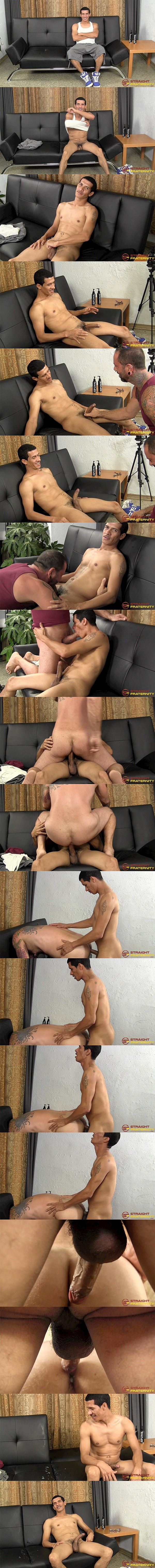 Hung Puerto Rican straight dude Parker barebacks tattooed daddy Franco Dax before he fucks the cum out of Franco and creampies him at Straightfraternity 01