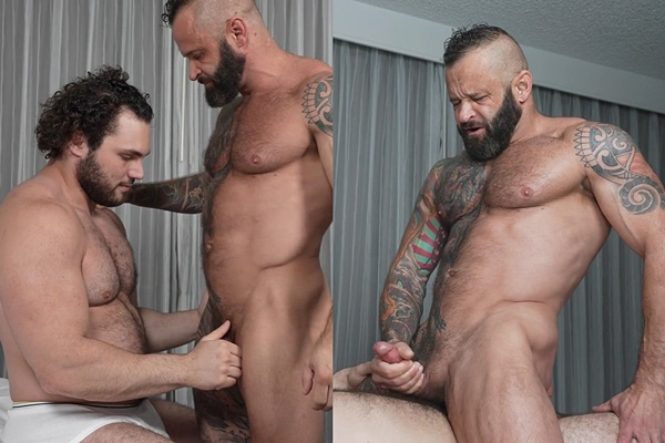 Hot fuzzy straight football stud Ludvig fucks masculine, inked daddy Tank Joey in several positions until he fucks the cum out of Tank and gives him a facial at Theguysite