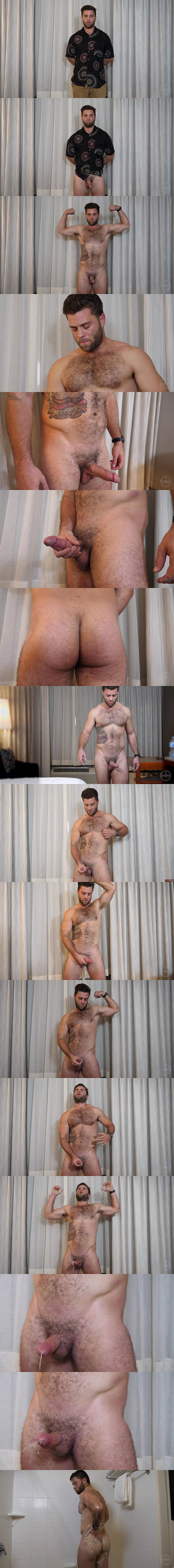 Masculine, hairy straight beefcake Mike poses his naked muscle body and strokes his cock until he has a hands-free orgasm at Theguysite