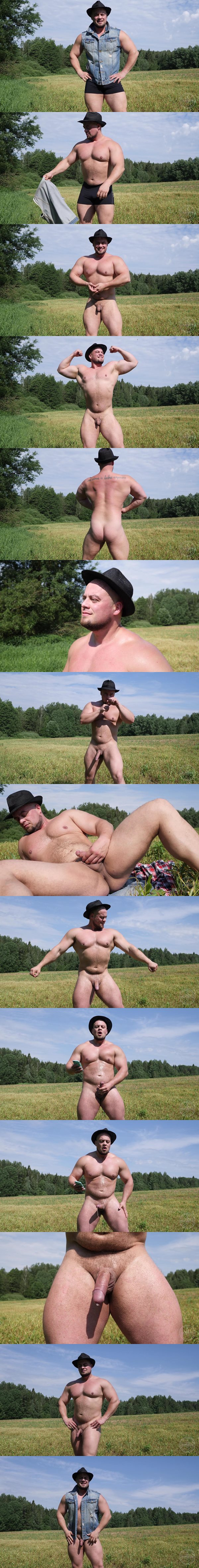 Russian straight hunk Oleg has a nake run in the fields before he jerks his dick and shoots his white jizz hands-free at Theguysite