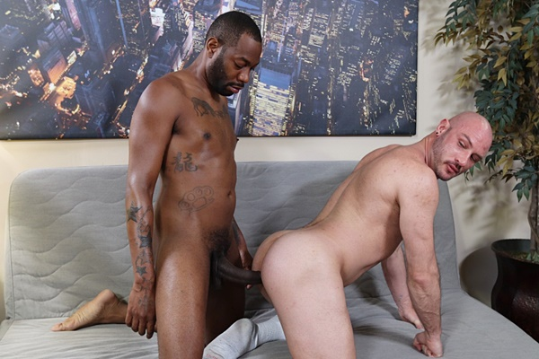 Big-cocked black stud August Alexander barebacks bald muscle daddy Greg Riley in this interracial encounter before he fucks the cum out of Greg at Baitbuddies