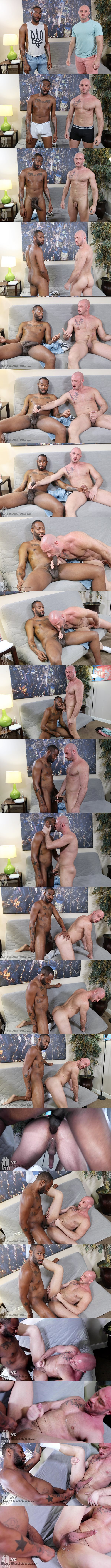 Big-cocked black stud August Alexander barebacks bald muscle daddy Greg Riley in this interracial encounter before he fucks the cum out of Greg at Baitbuddies 01