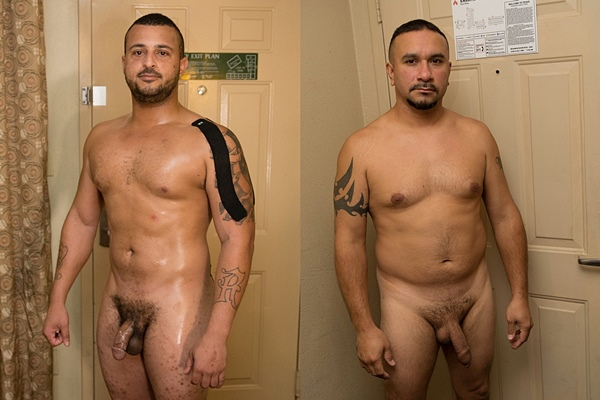 Beefy country stud Lance Ryder and masculine straight daddy Longstroke strip down and stroke their cocks until they blow their white jizz at Fredsugar