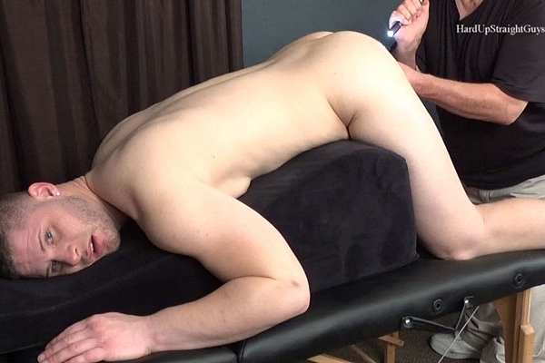 Handsome muscular straight hunk Brad gets his tight virgin ass rimmed, fingered and fucked with a vibrator before Brad jerks off in Nervous Virgin at Hardupstraightguys