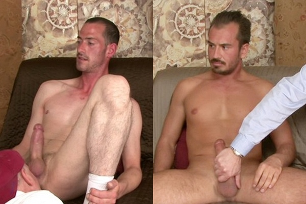 Hung straight lumberjack Trace and masculine blue-collar worker Colby get serviced by Brendon Marley before they blow their creamy loads in Cream Dreams at Like-em-straight