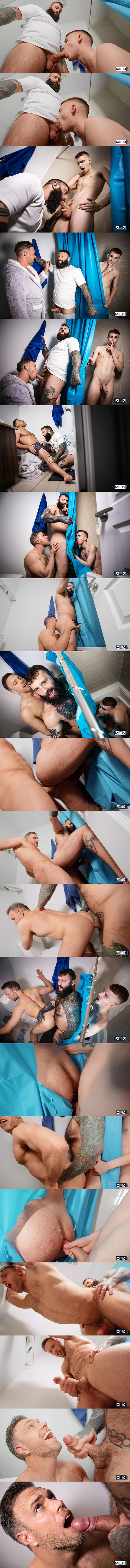 Alex Mecum, Markus Kage and Ryan Jacobs have a raw threesome in the bathroom before Markus fucks the cum out of Alex and gives him a facial in Glory-ous Shower Fuck at Men 01
