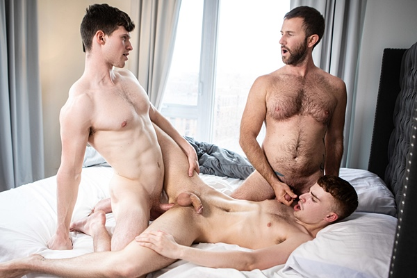 Fit straight newcomer Finn Harding barebacks Ryan Jacobs and Tanner Hall in a threeway until he fucks the cum out of Tanner in Catering To The Caregiver at Men