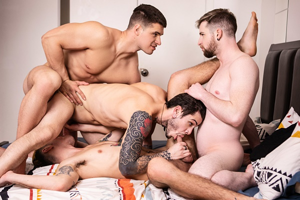 Handsome Canadian straight hunk Malik Delgaty barebacks twink Sean Peek, Thyle Knoxx and Dex Parker before he fucks the cum out of Sean and Dex in Gawkers Uncut at Men