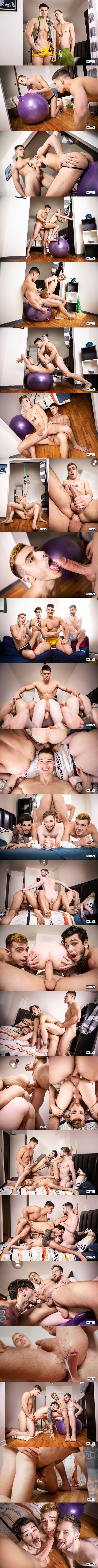 Handsome Canadian straight hunk Malik Delgaty barebacks twink Sean Peek, Thyle Knoxx and Dex Parker before he fucks the cum out of Sean and Dex in Gawkers Uncut at Men 01