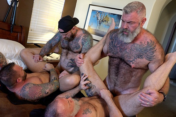 Hung inked bearded daddy Jack Dixon barebacks Liam Angell, Will Angell and Liam Griffin before he creampies Liam Angell in Bearded Big-Dicked Bros at Musclebearporn