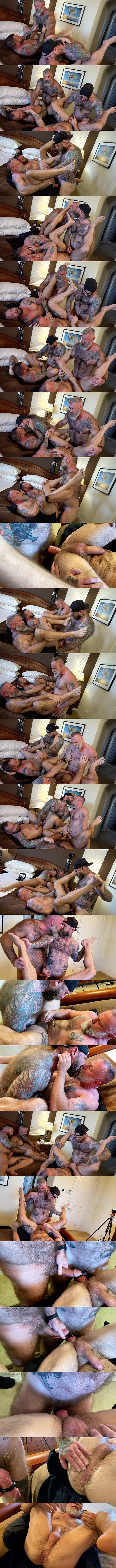 Hung inked bearded daddy Jack Dixon barebacks Liam Angell, Will Angell and Liam Griffin before he creampies Liam Angell in Bearded Big-Dicked Bros at Musclebearporn 01