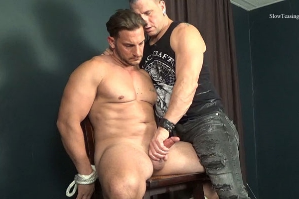 Masculine straight beefcake, Italian muscle hunk Markey gets slowly stroked and edged by master Scott until Scott milks a sticky load out of Markey's hard cock at Slowteasinghandjobs