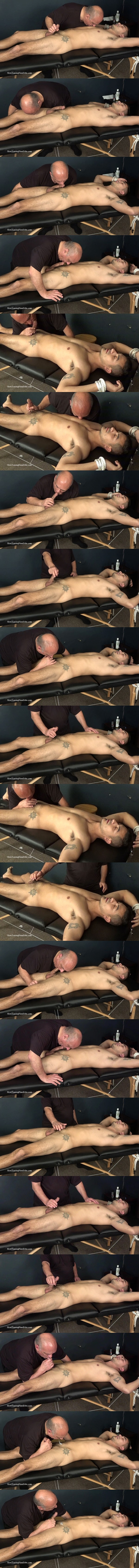 Lean fit straight guy Tim gets tied to the massage table before he gets slowly edged and sucked by Rich until he cums in Rich's mouth in Edging Blow Job at Slowteasinghandjobs 01