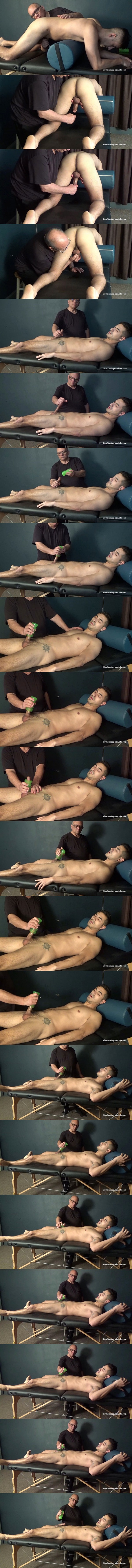 Fit straight guy Tim gets slowly stroked, serviced and edged until he gets jerked off by master Rich in Tim's Slow Pocket Pussy Edging at Slowteasinghandjobs 01